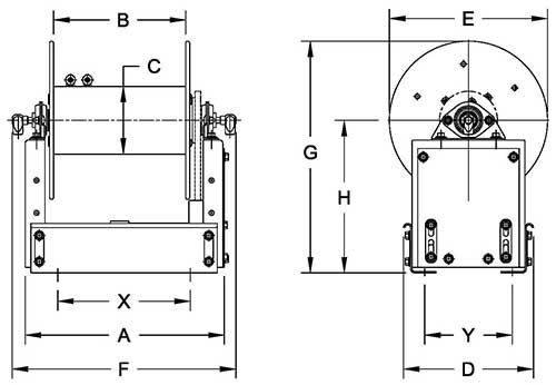Dimensions for ESF2000 Series