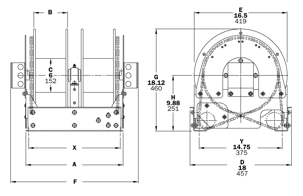 Dimensions for TEF1600 Series
