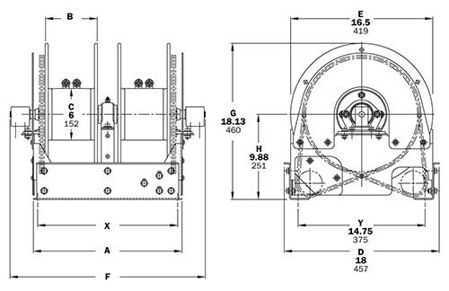 Dimensions for TEF2500 Series